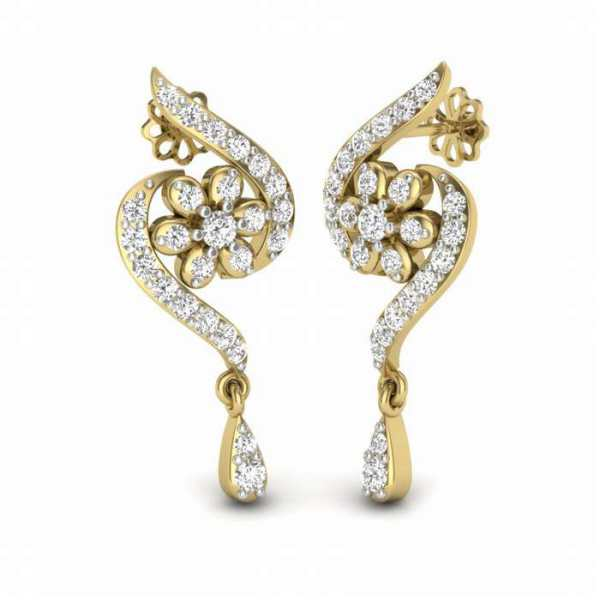 Floral Hook Diamond Earring