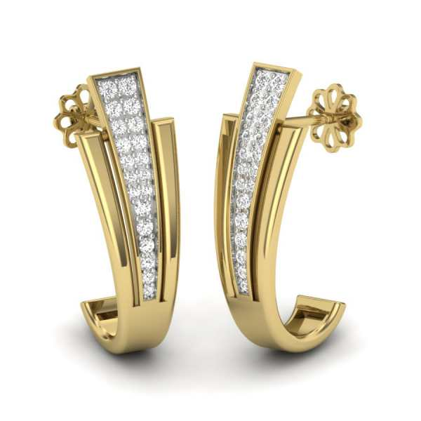 Curvy Beneath Diamond Earring