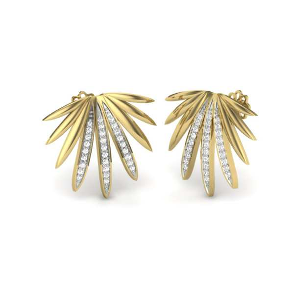 Palm Leaf Diamond Earring