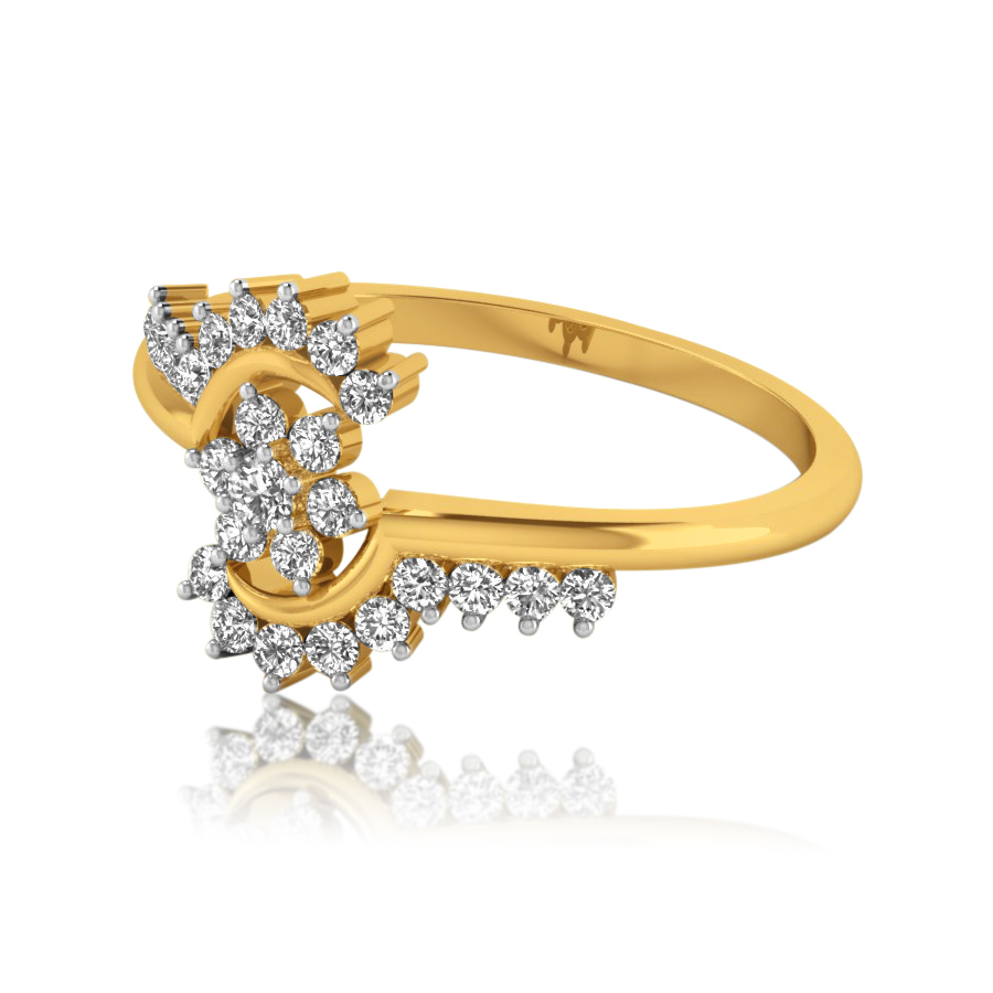 Open Flower Diamond Ring