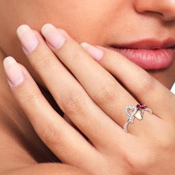 Heart and Petal Diamond Ring