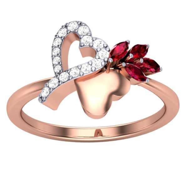 Heart and Petal Diamond Ring