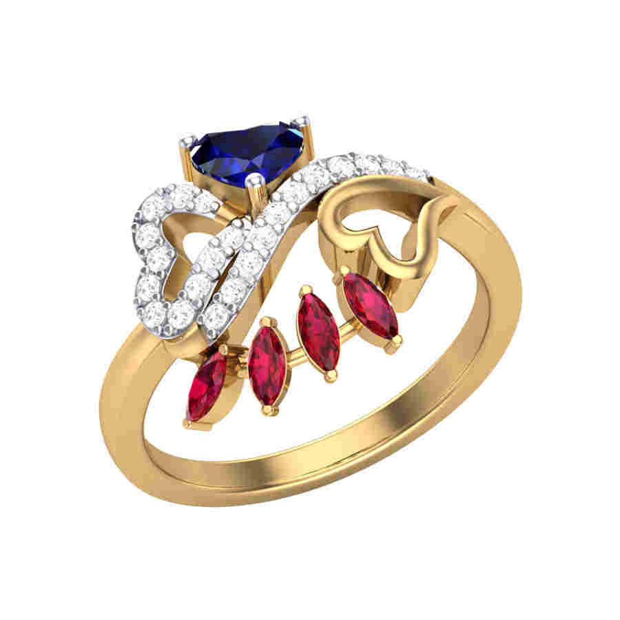 Blue n Red Diamond Ring