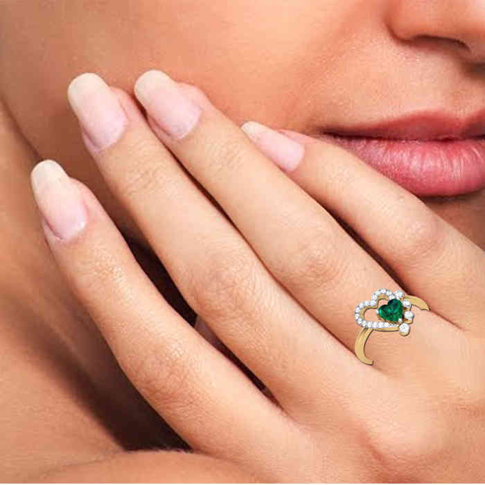 Green Heart Diamond Ring