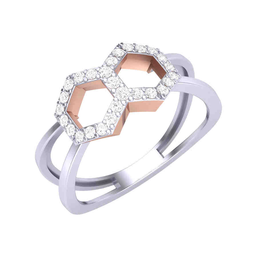 Dual Symmetry Diamond Ring