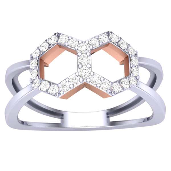 Dual Symmetry Diamond Ring