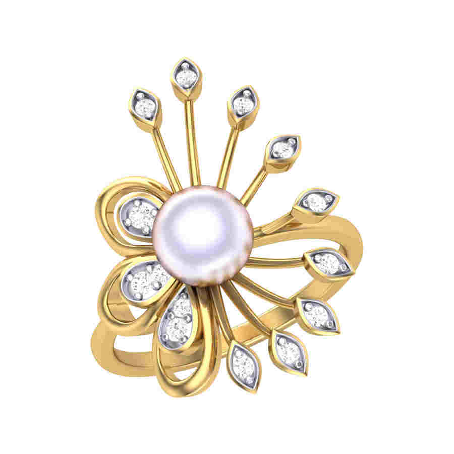 Pearl Pleasant Diamond Ring