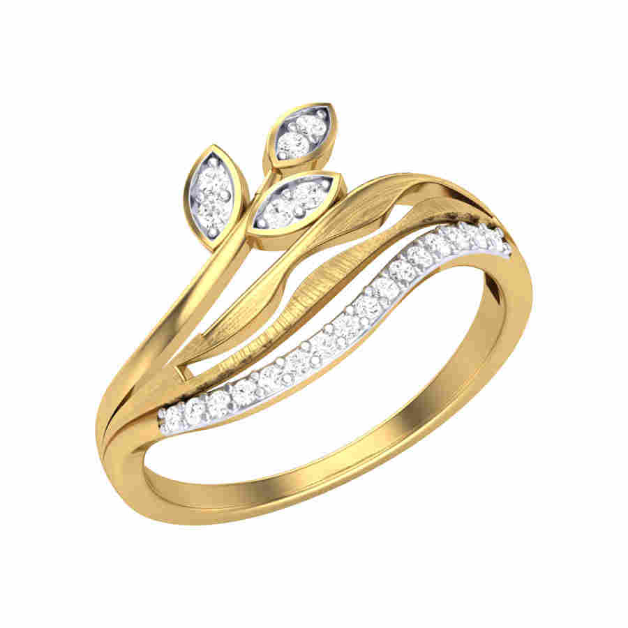 Bent Petals Diamond Ring