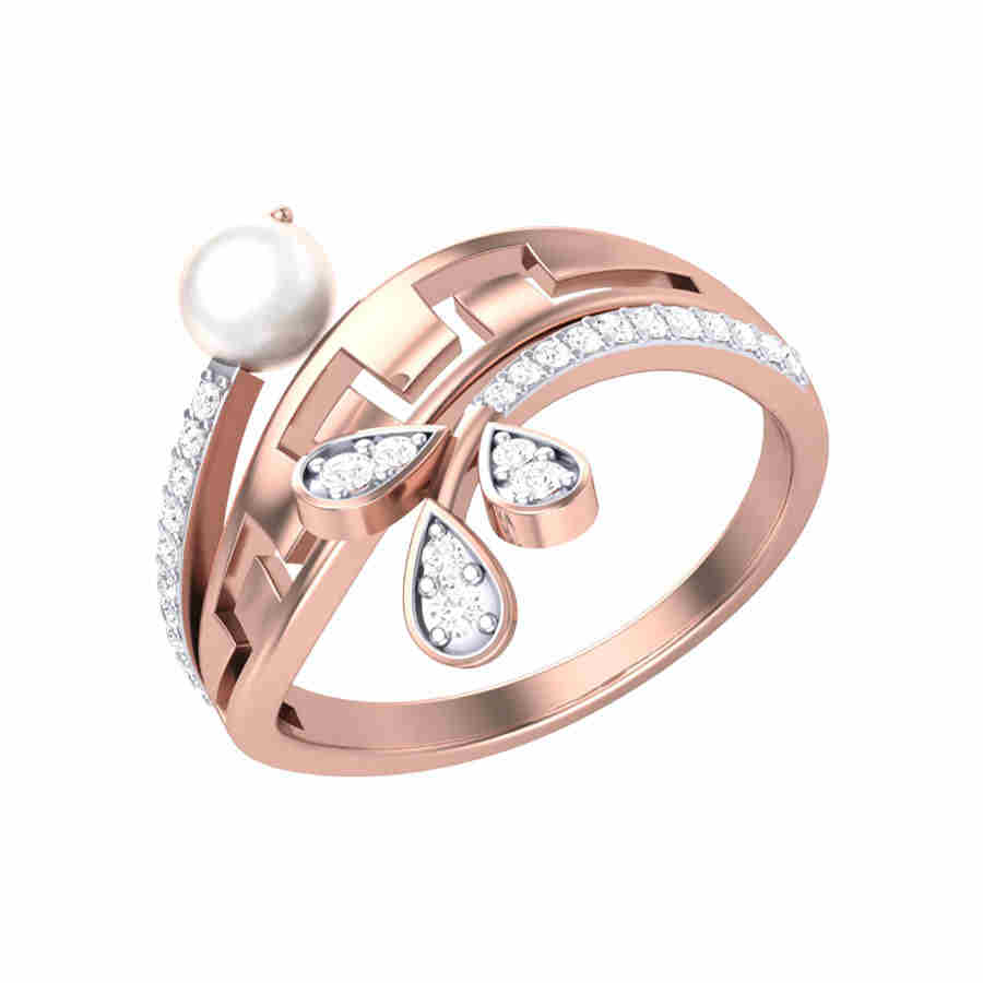 Pearl n Petal Diamond Ring