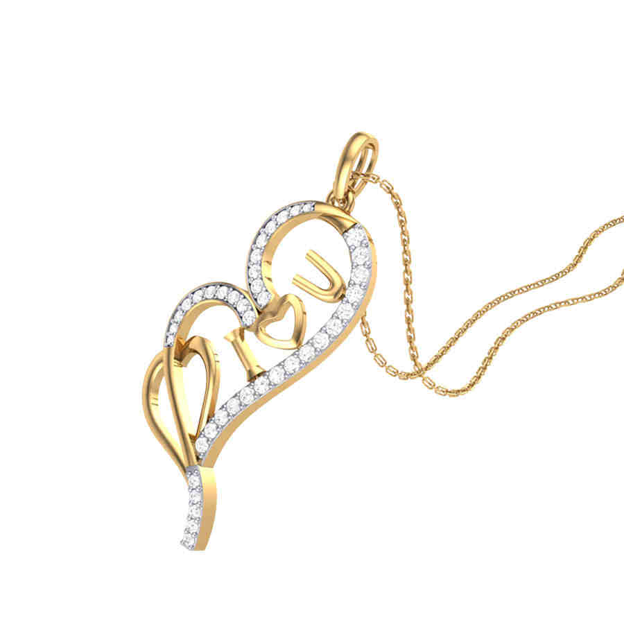 Diamond Heart With Love Pendan