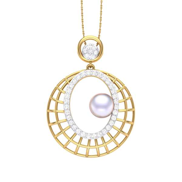 Wired Pearl Diamond Pendant