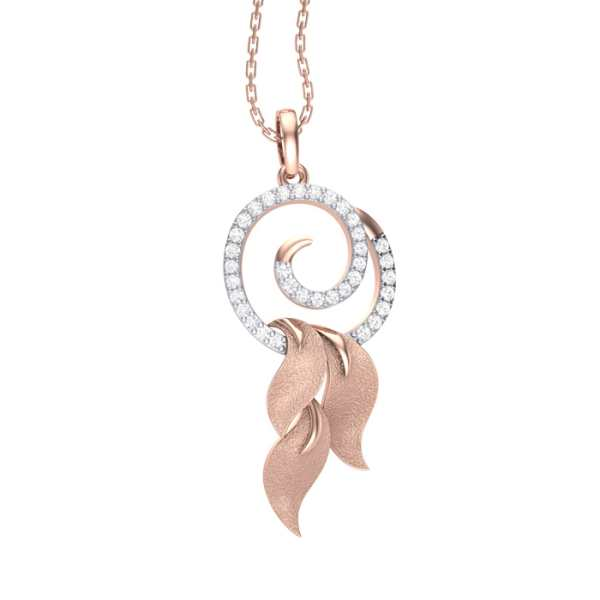 Rosy Leaf diamond Pendant