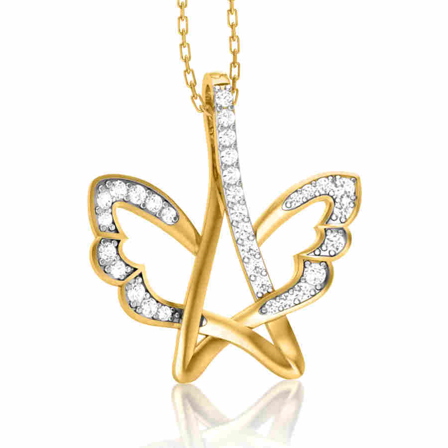 Butterfly Wings Diamond Pendan