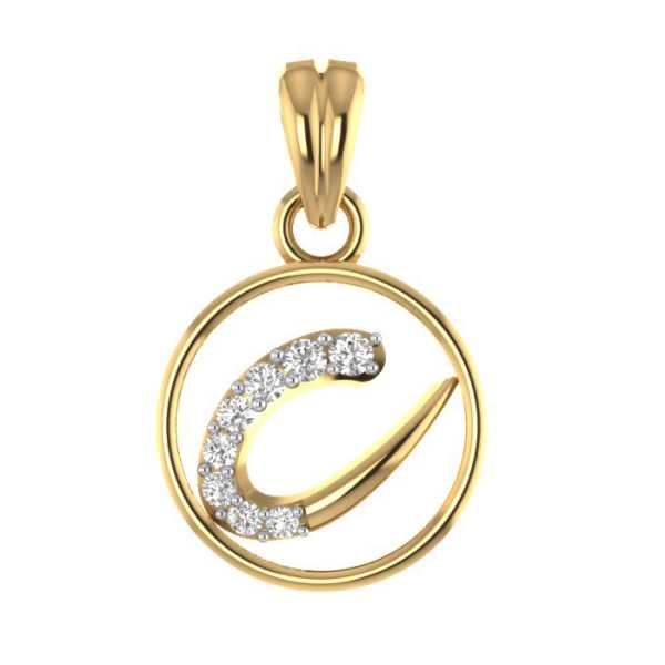 Stylish C Diamond Pendant