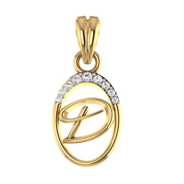 Stylish D Diamond Pendant