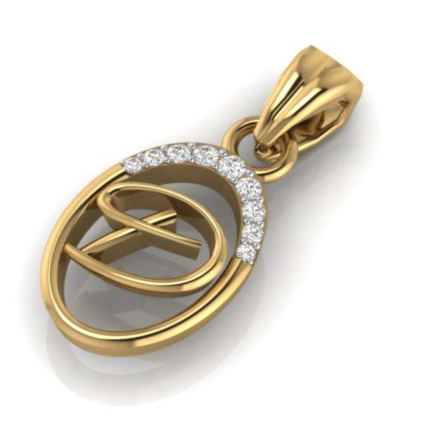 Stylish D Diamond Pendant