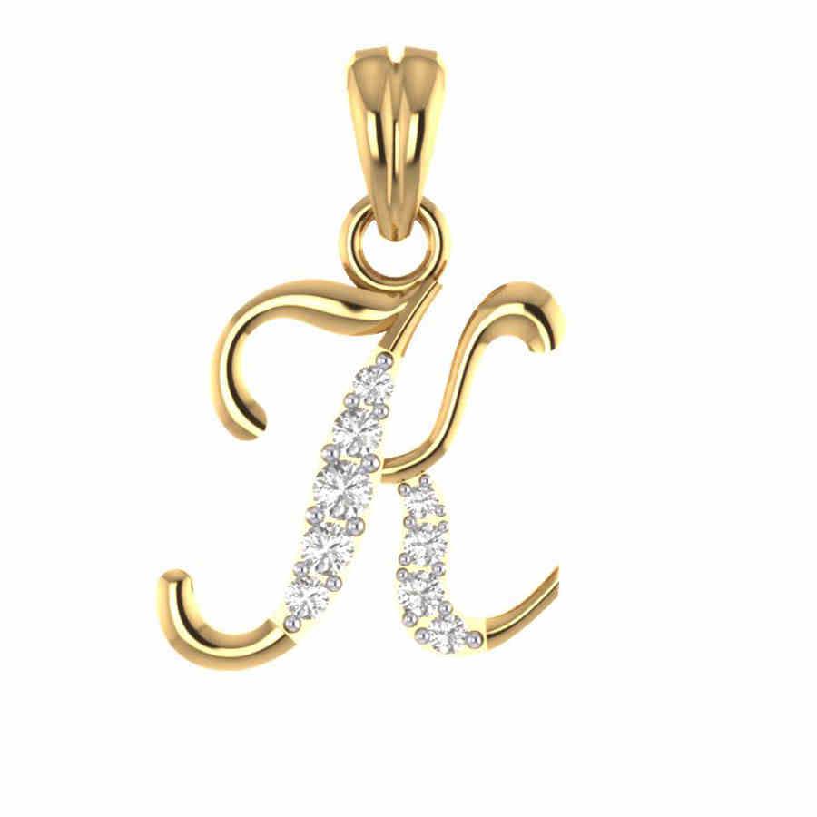 Stylish K Diamond Pendant