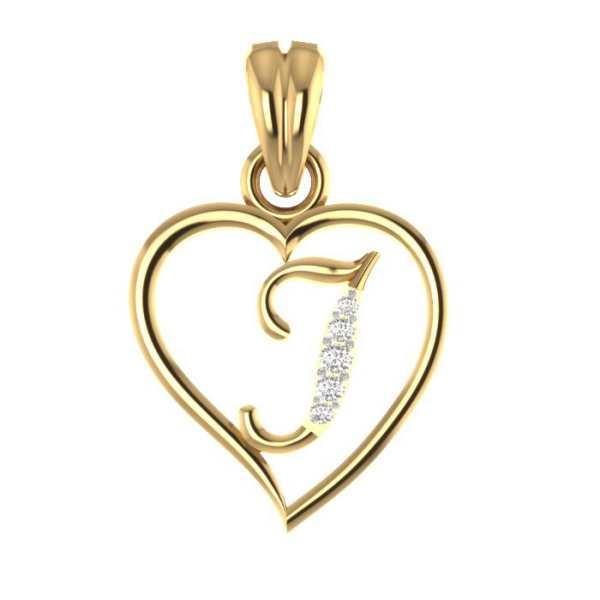 In Heart J Diamond Pendant