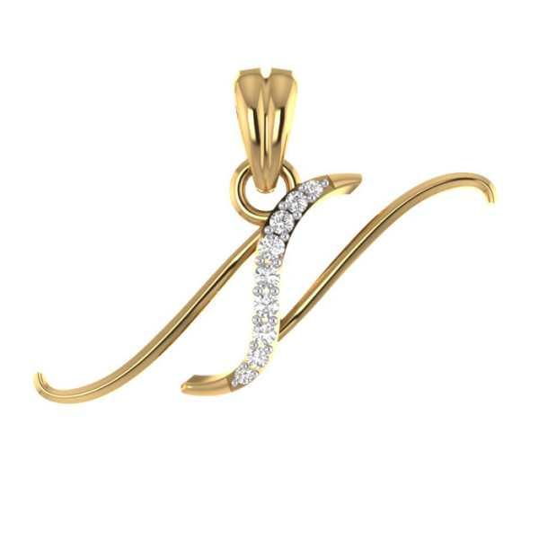 Stylish N Diamond Pendant