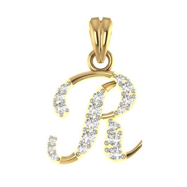 Stylish R Diamond Pendant