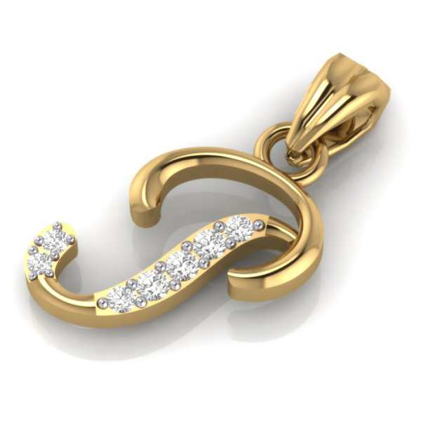 Stylish P Diamond Pendant