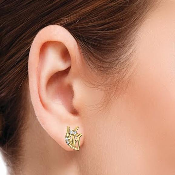 Three Curve Diamond Earring