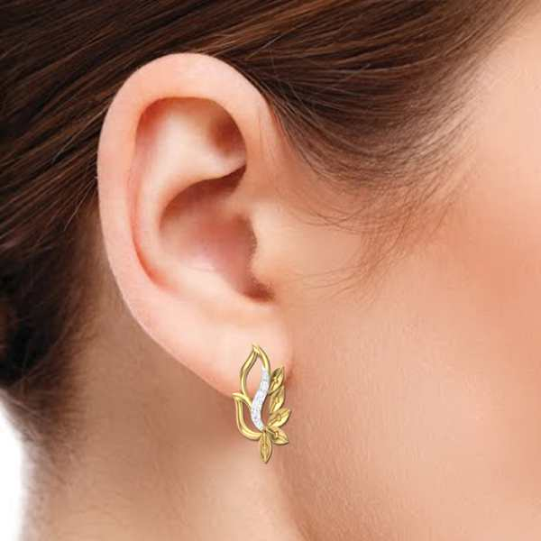 Magical Leaf Diamond Earring