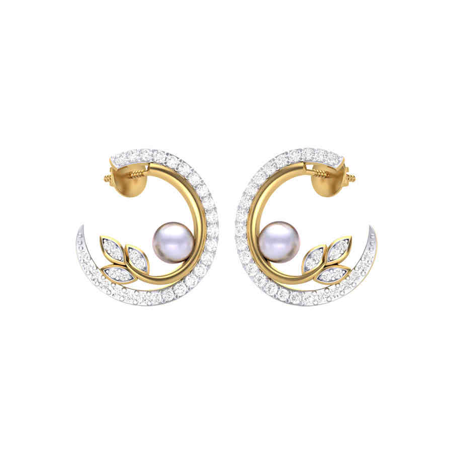 Moon n Pearl Diamond Earring