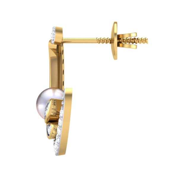 Moon n Pearl Diamond Earring