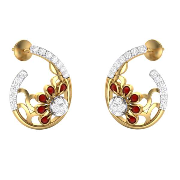 Red Design With curve Earring