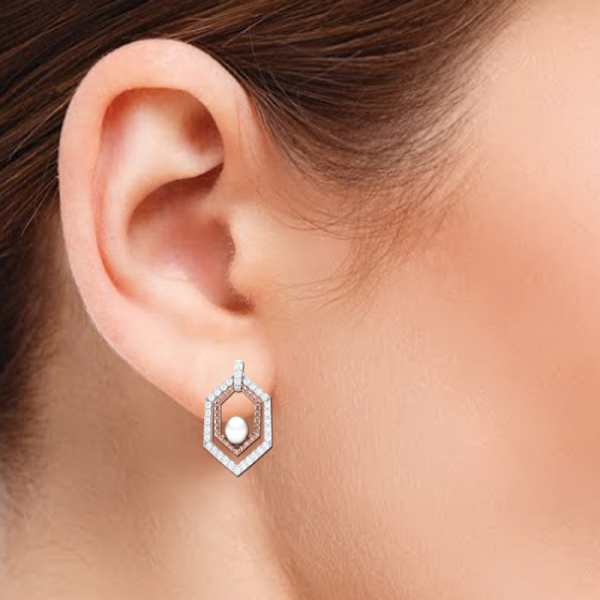 Rosy Hexagon  Pearl Earring