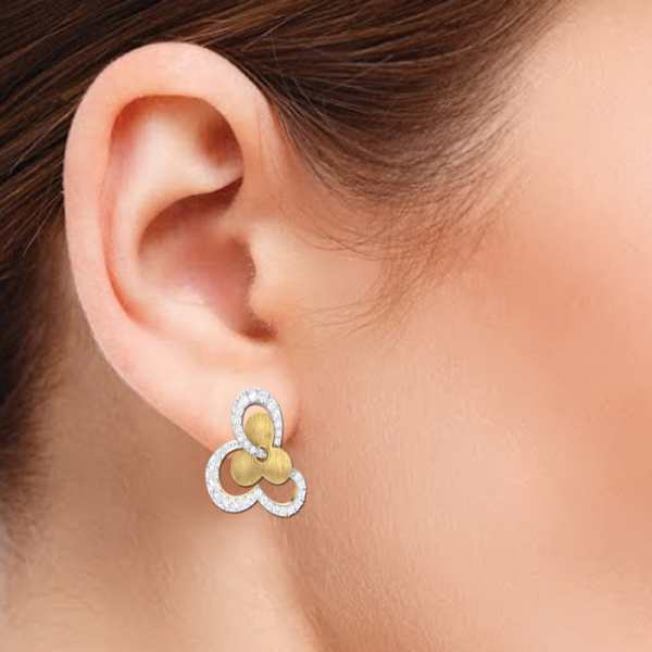 Dual Tone Flower Earring