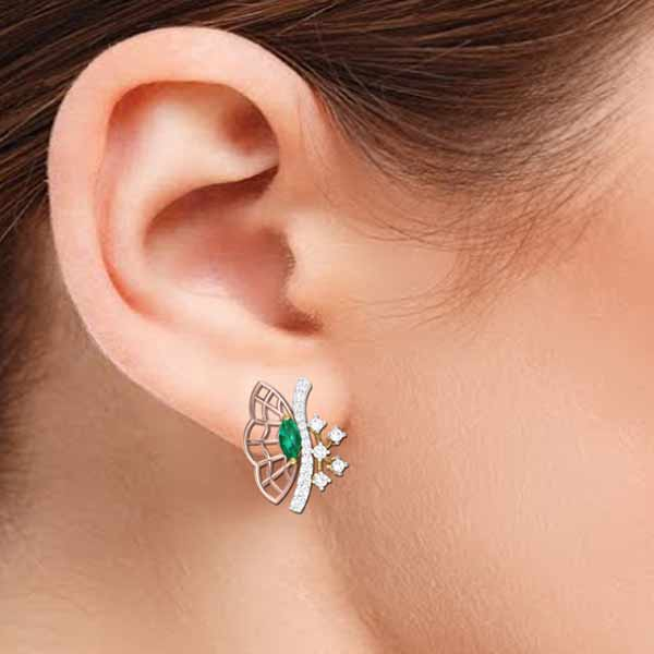 Butterfly with Emerald Earring