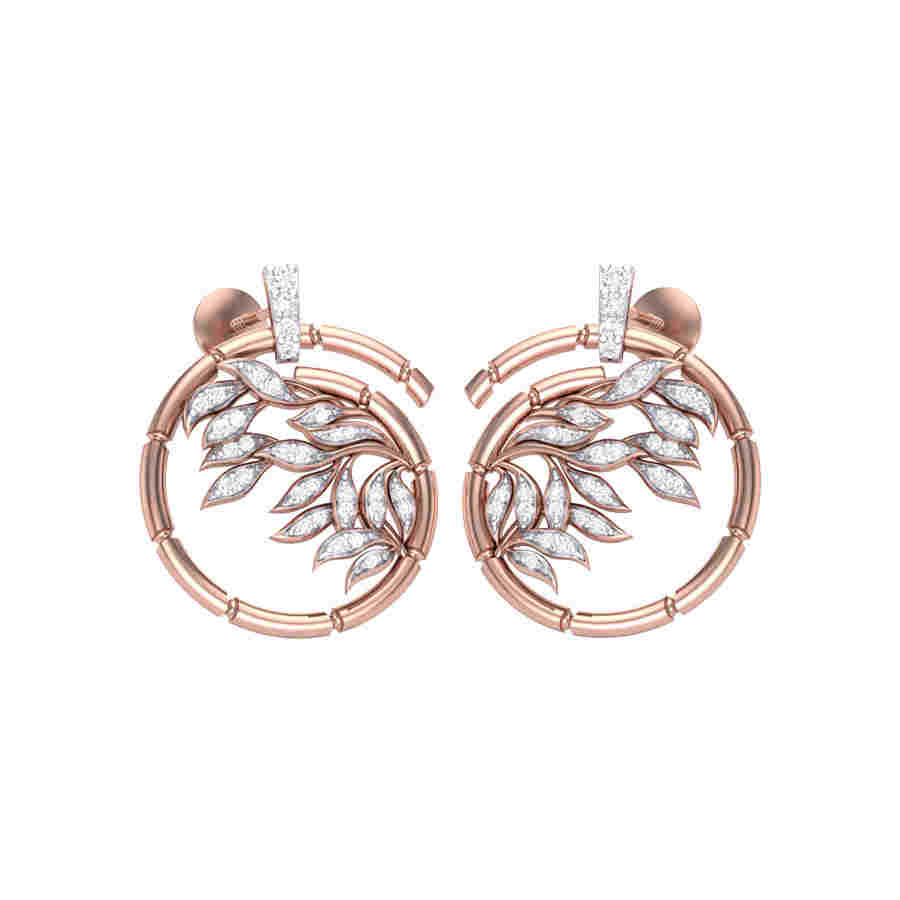 Leafs in Rosy Circle Earring