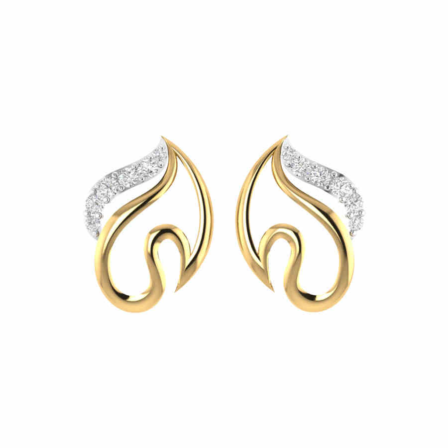 Stylish S Shape Diamond Earrin