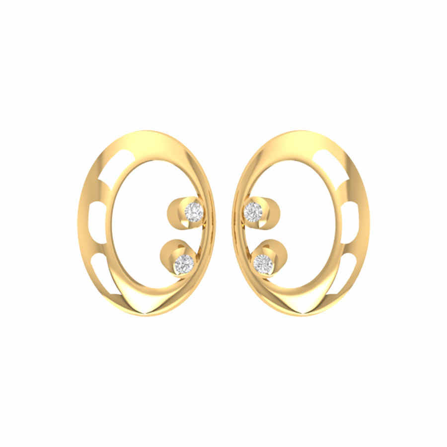 Oval With Two Diamond Earring