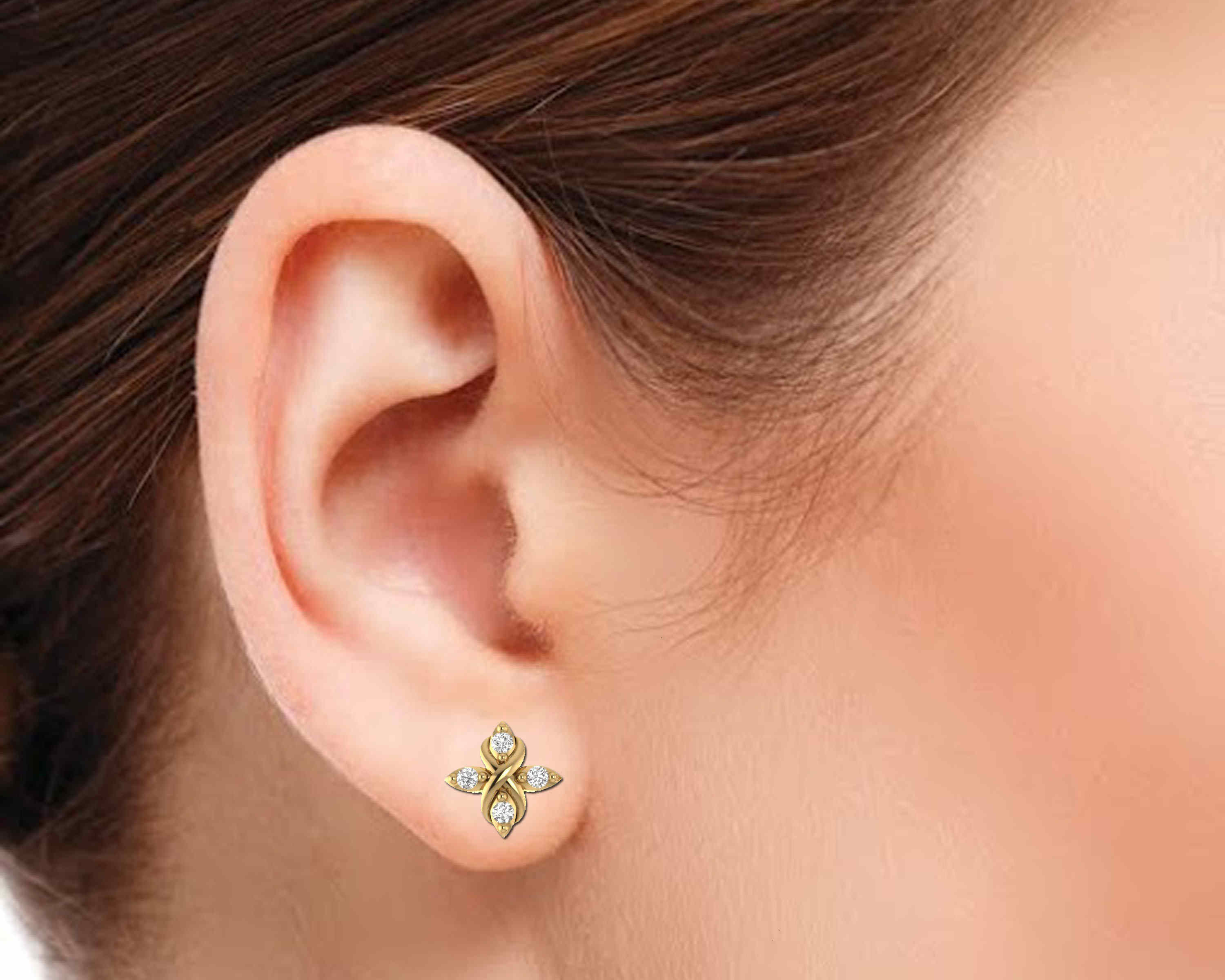 Heart With Four Diamond Earrin