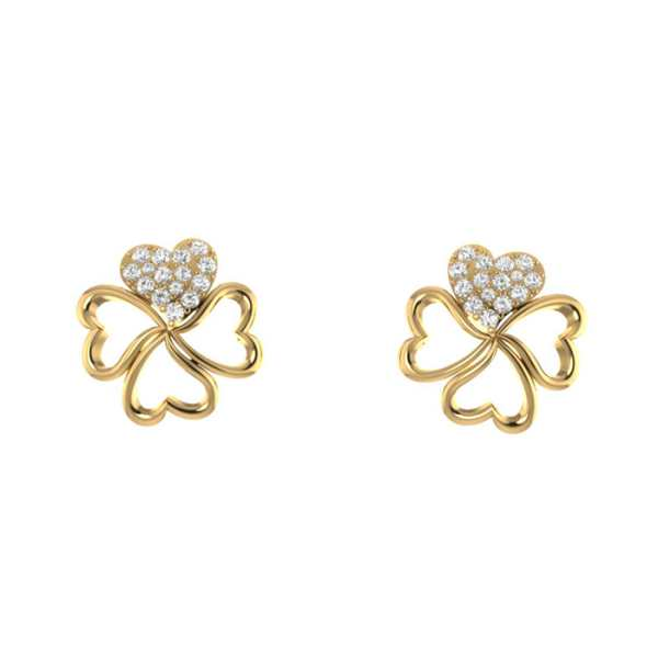 Four Heart With Diamond Earrin