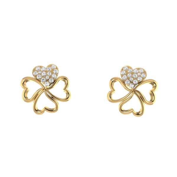 Four Heart With Diamond Earrin