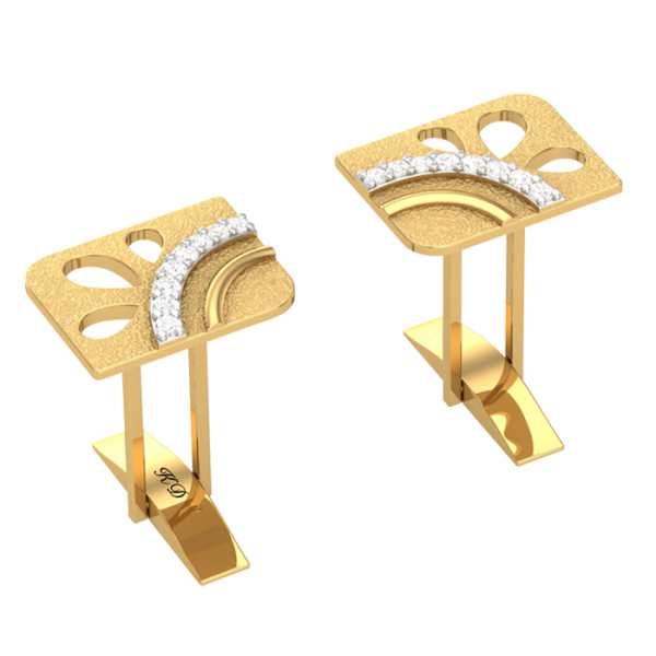 Curve Shape Diamond cufflinks
