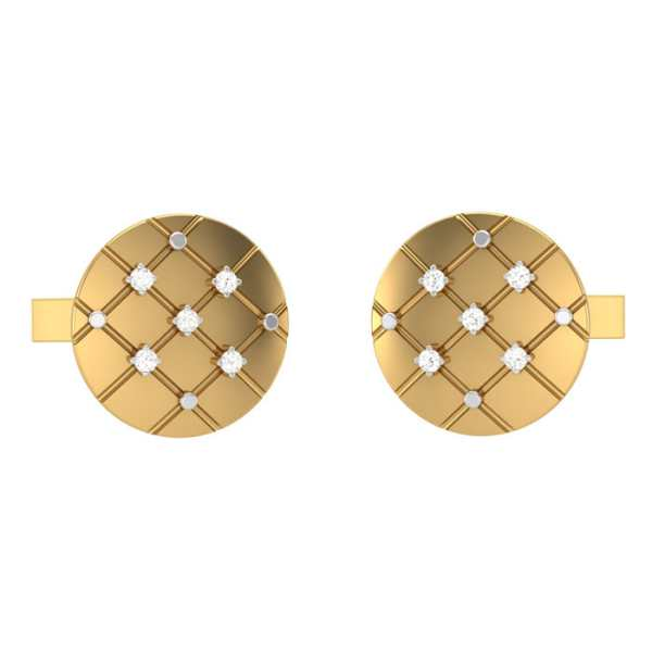 Meshy Circle Diamond Cufflink