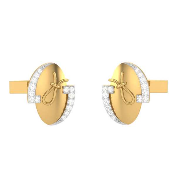 Oval Round Diamond Cufflinks