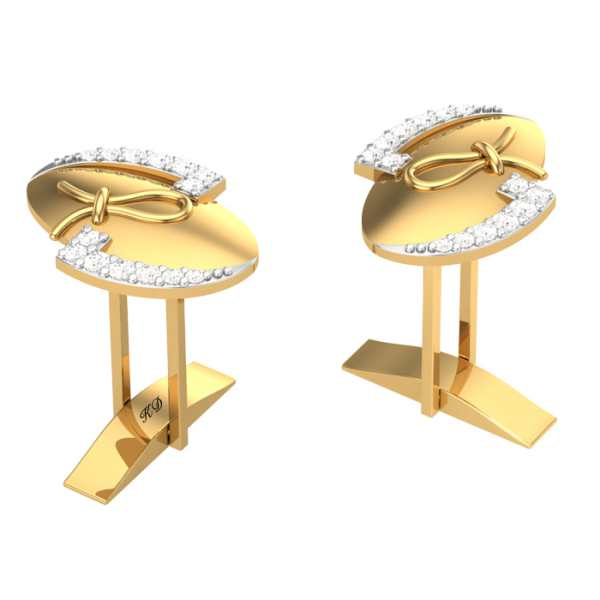 Oval Round Diamond Cufflinks