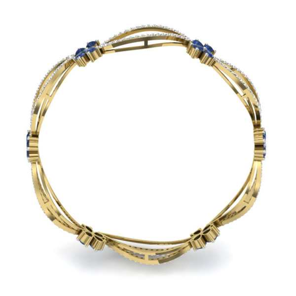 Spiral shape Diamond Bangle
