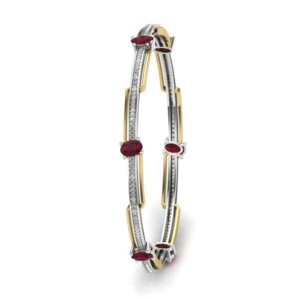 Red Oval Shape Diamond Bangle