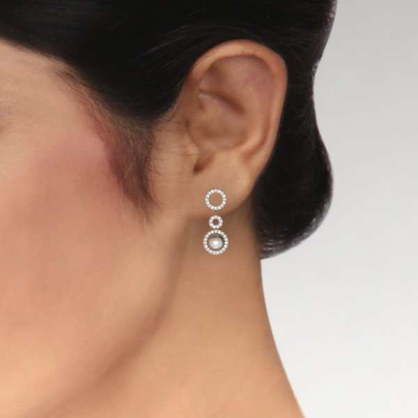 Three Circle With Pearl Earrin