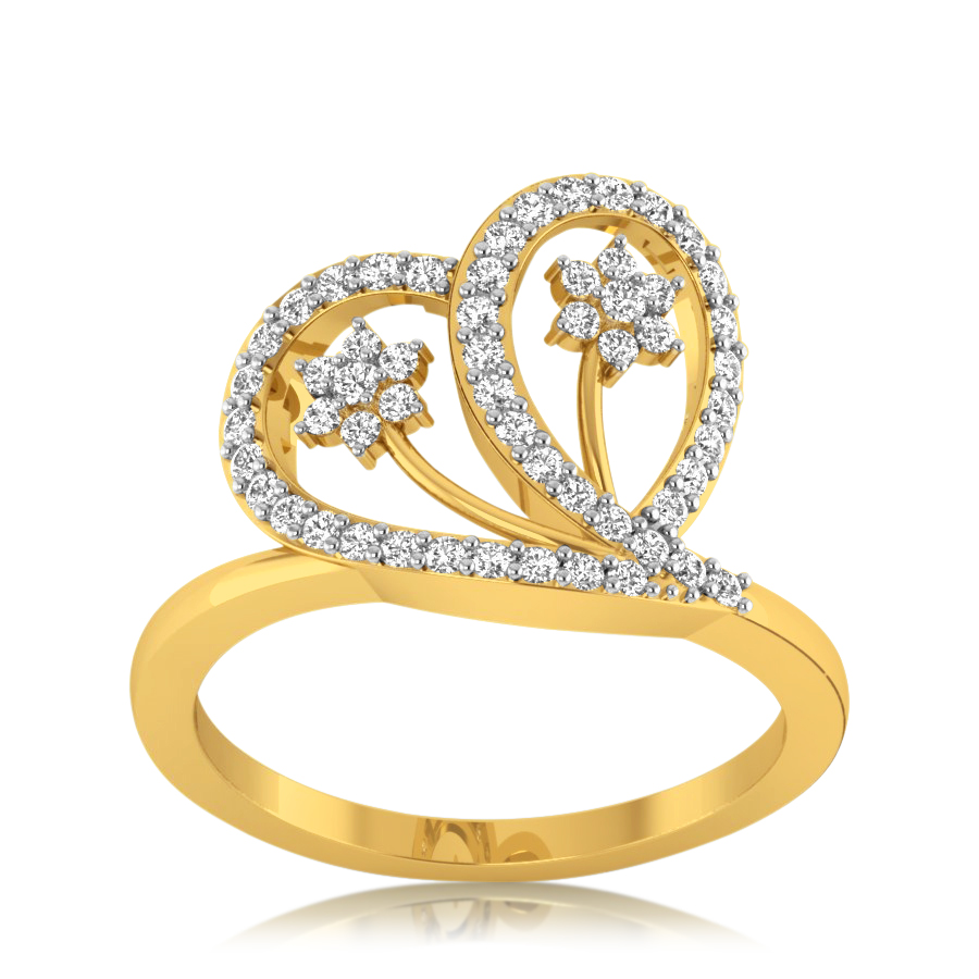 Duo Floral Heart Diamond Ring