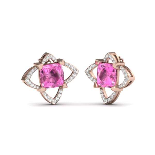 Pink Square Diamond Earring