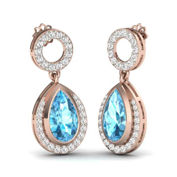 Sky Diamond with Circle Earrin