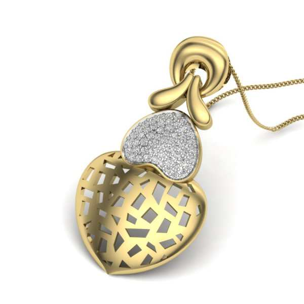 Glittering Dual Heart Pendant